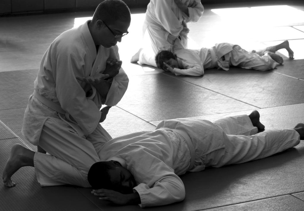 pratiquants d'arts martiaux exécutant une clé
