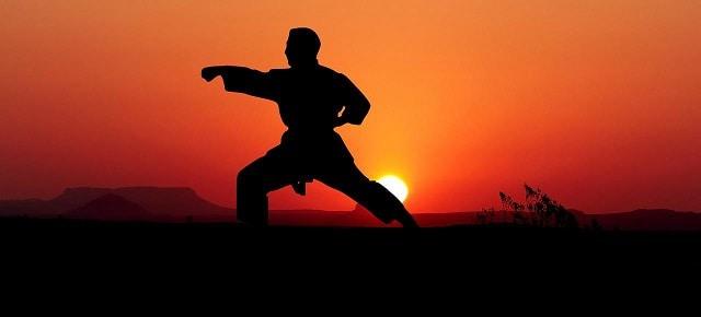 karatéka exécutant un kata avec soleil couchant en fond
