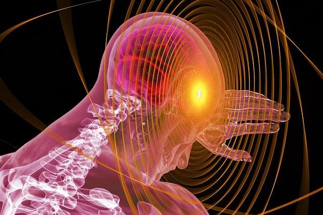 vue d'artiste d'un corps humain sous rayon x, mettant en avant le cerveau et la moelle épinière, avec une main levée en protection devant le front
